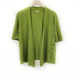 Eileen Fisher Linen Short Sleeve Open Cardigan M